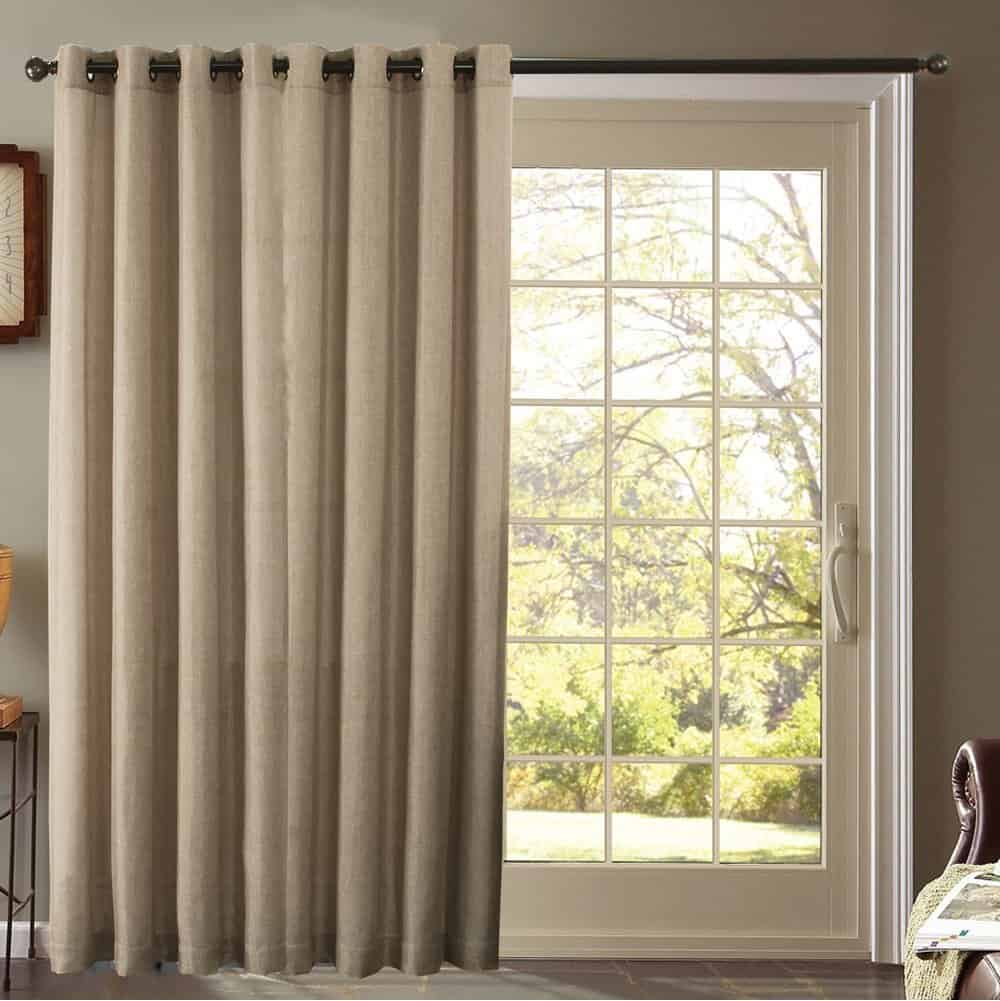 Window treatments for sliding glass doors ideas tips for Long sliding glass doors