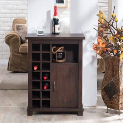 Furniture Of America Curacious Wine Rack With Storage Cabinet