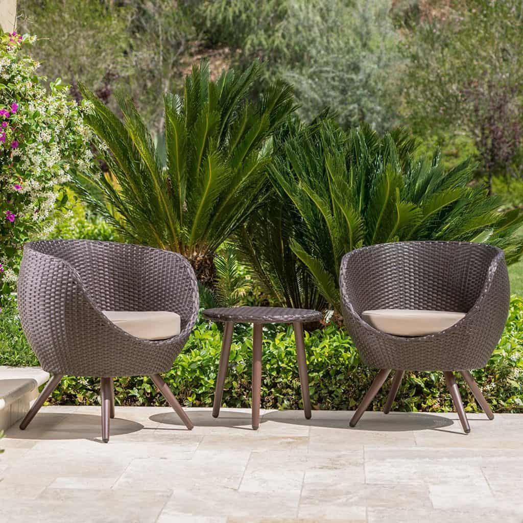 Gdf Studio Patio Furniture 3 Piece Outdoor Modern Wicker Conversation Set