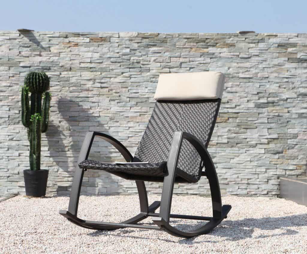 Grand Patio Weather Resistant Wicker Rocking Chair With Breathable Headrest