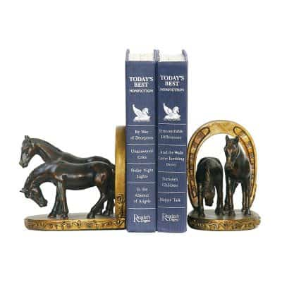 Hamptons Collection Pair Horse And Horseshoe Bookends