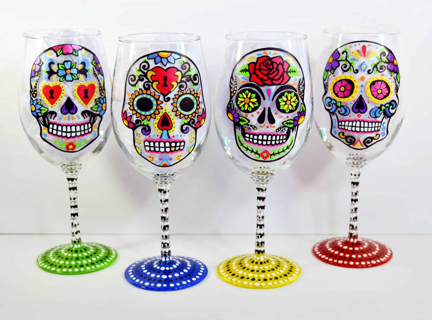 Hand Painted, Wine Glasses, Day of the Dead