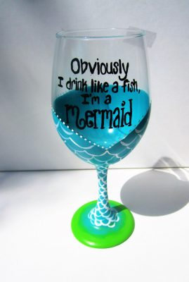 Hand Painted Wine Glasses, Mermaid Wine Glass