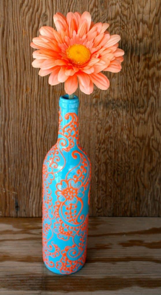 Hand Painted Wine bottle Vase, Up Cycled