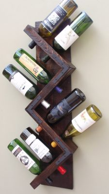 Handmade Wooden Wall Mounted Wine Rack Holds 8 Bottles