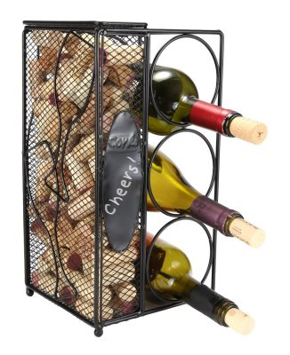 Home-X Keepsake Wine Cork Holder Chalkboard Write A Note, Wine Corks Saver with 3 Wine Bottles Storage Rack