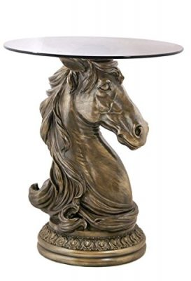 Horse Head Cold Cast Decorative End Table