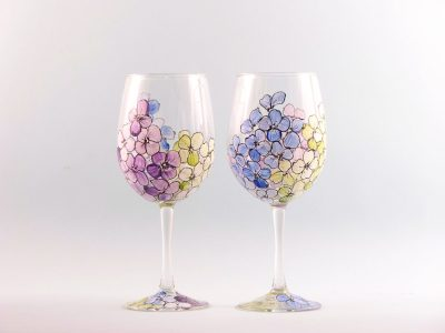 Hydrangea Flower Wine Glasses