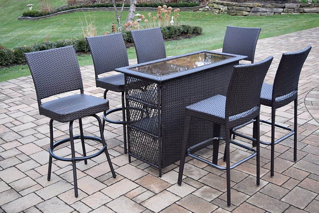 Ice Cooler Carts Elite All Weather Resin Wicker 7 Piece Bar Set