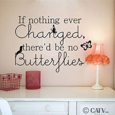 If Nothing Ever Changed, There'd Be No Butterflies vinyl quote sticker