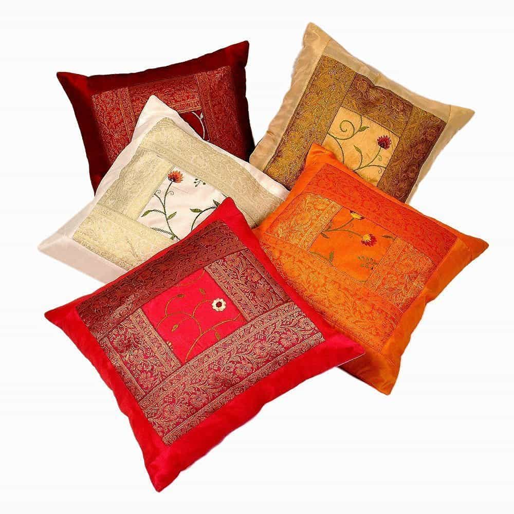 Indian Ethnic Hand Embroidery Decorative Silk Pillow Cushion Cover Set of 5 Pcs Size 16 X 16 Inches
