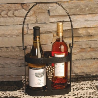 J&J Wire Strap Iron Wine Bottle Caddy