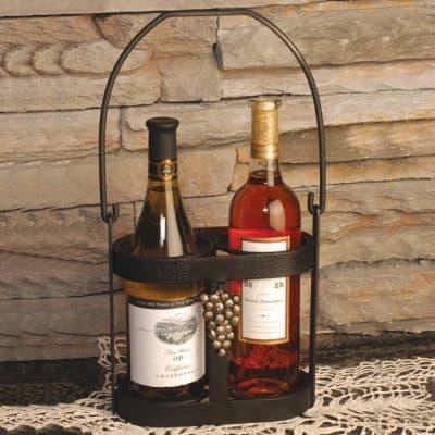 J&J Wire Strap Iron Wine Bottle Caddy
