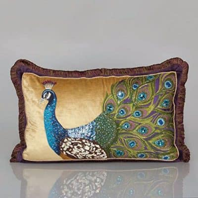 Jay Strongwater Peacock Pillow