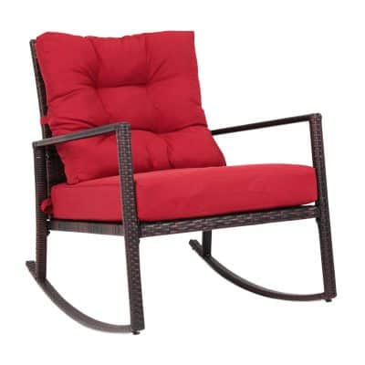 Kinbor Rattan Rocker Chair Outdoor Garden Rocking Chair Wicker Lounge WRed  Cushion