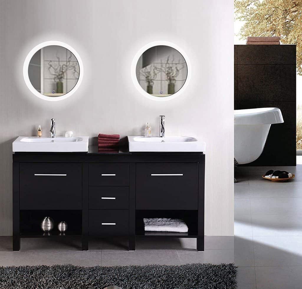 Krugg LED Bathroom Round Mirror 22 Inch Diameter | Lighted Vanity Mirror Dimmer & Defogger | Silver Backed Glass