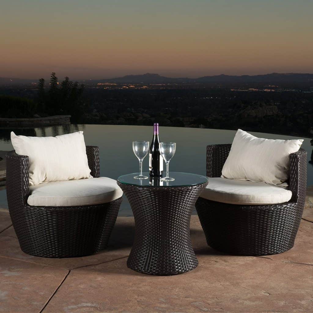 Kyoto Outdoor Patio Furniture Brown Wicker 3 Piece Chair Set W Cushions