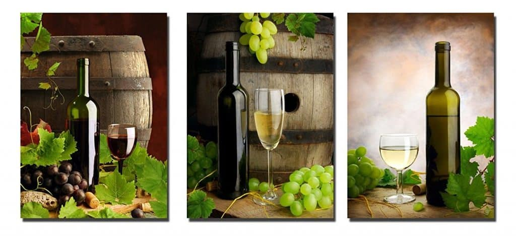 Large 3 Panels Bottles and Wine Modern Stretched and Framed