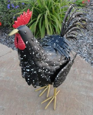 Large Black Rooster Sculpture Country Home