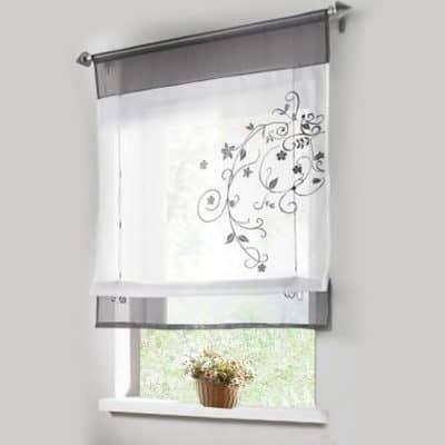 lariy 1pcs sheer roman curtains liftable embroidered windows curtain organza panel - Bathroom Window