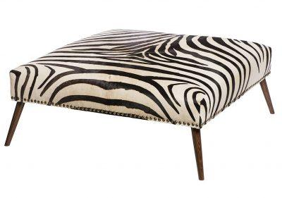 Leone Global Bazaar Stud Trim Zebra Print Cowhide Ottoman