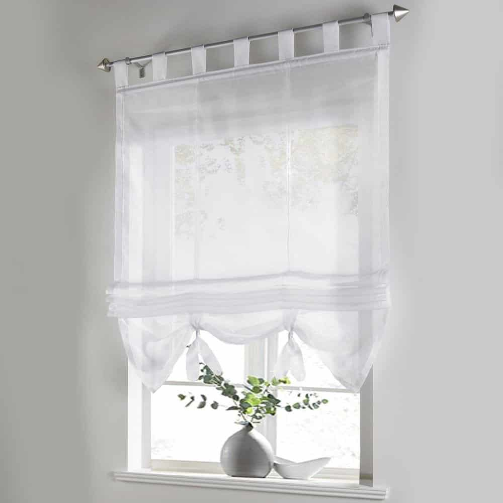 Lace bathroom window curtains - Liftable Roman Curtain Voile Tab Top Windows Curtains Sheer Panel