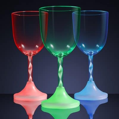 Light Up Wine Glass with Long Spiral Stem