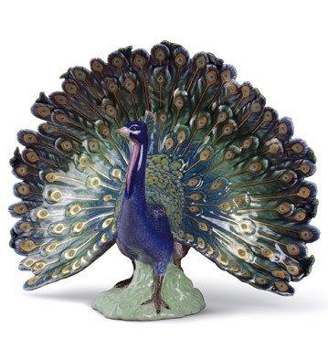 Lladro Peacock Figurine