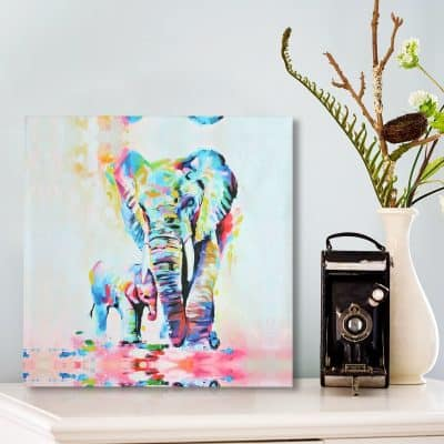 MOHOO 50x50cm Elephant Oil Painting Canvas Wall Art