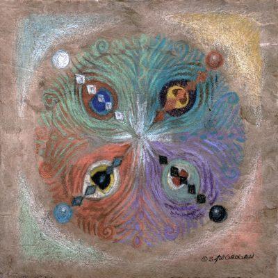 Mandala of Feathers of Four Winds Fine Art Peacock by S.J.W. Grogan
