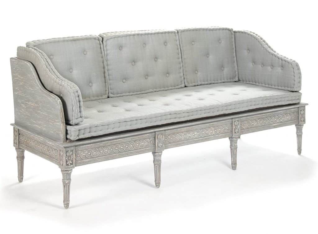 Matisse French Country Grey Distressed Upholstered Bench Sofa