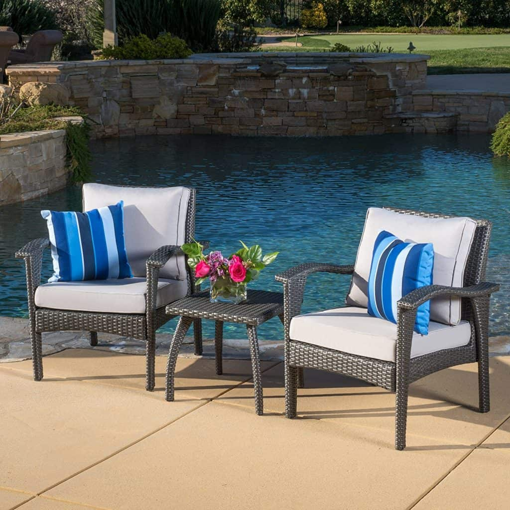 Maui Outdoor 3-piece Grey Wicker Chair Set with Cushions
