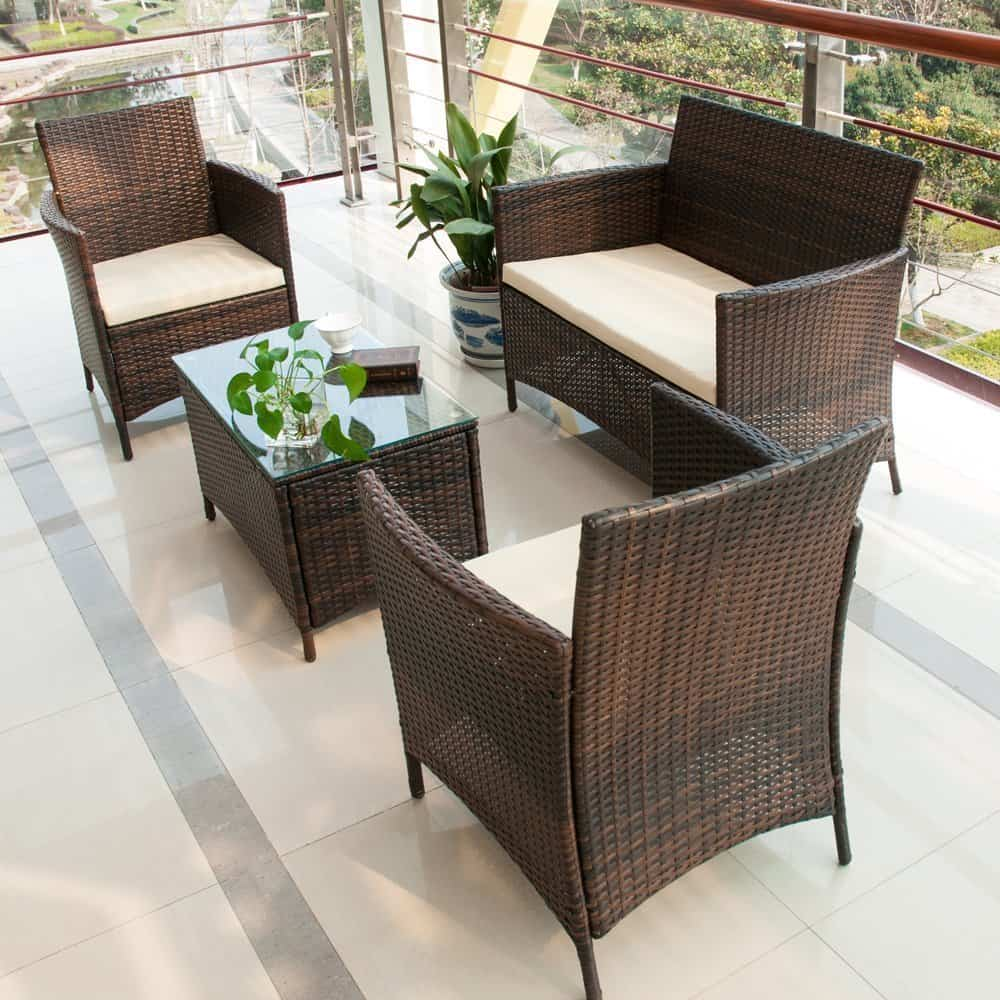 brown set patio source outdoor. Merax 4 PCS Patio Rattan Furniture Set Brown Source Outdoor S