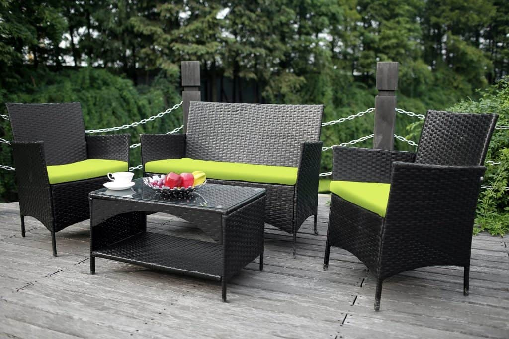 Merax 4-piece Outdoor PE Rattan Wicker Sofa and Chairs