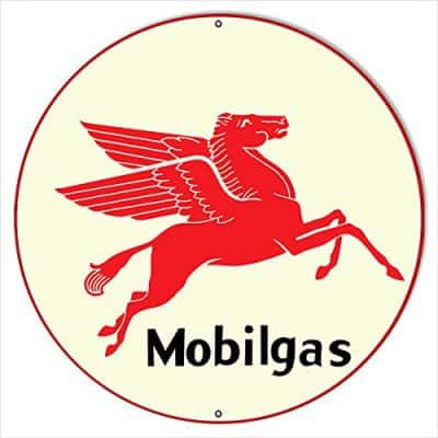Mobilgas Gasoline 24 Round with Pegasus Sign