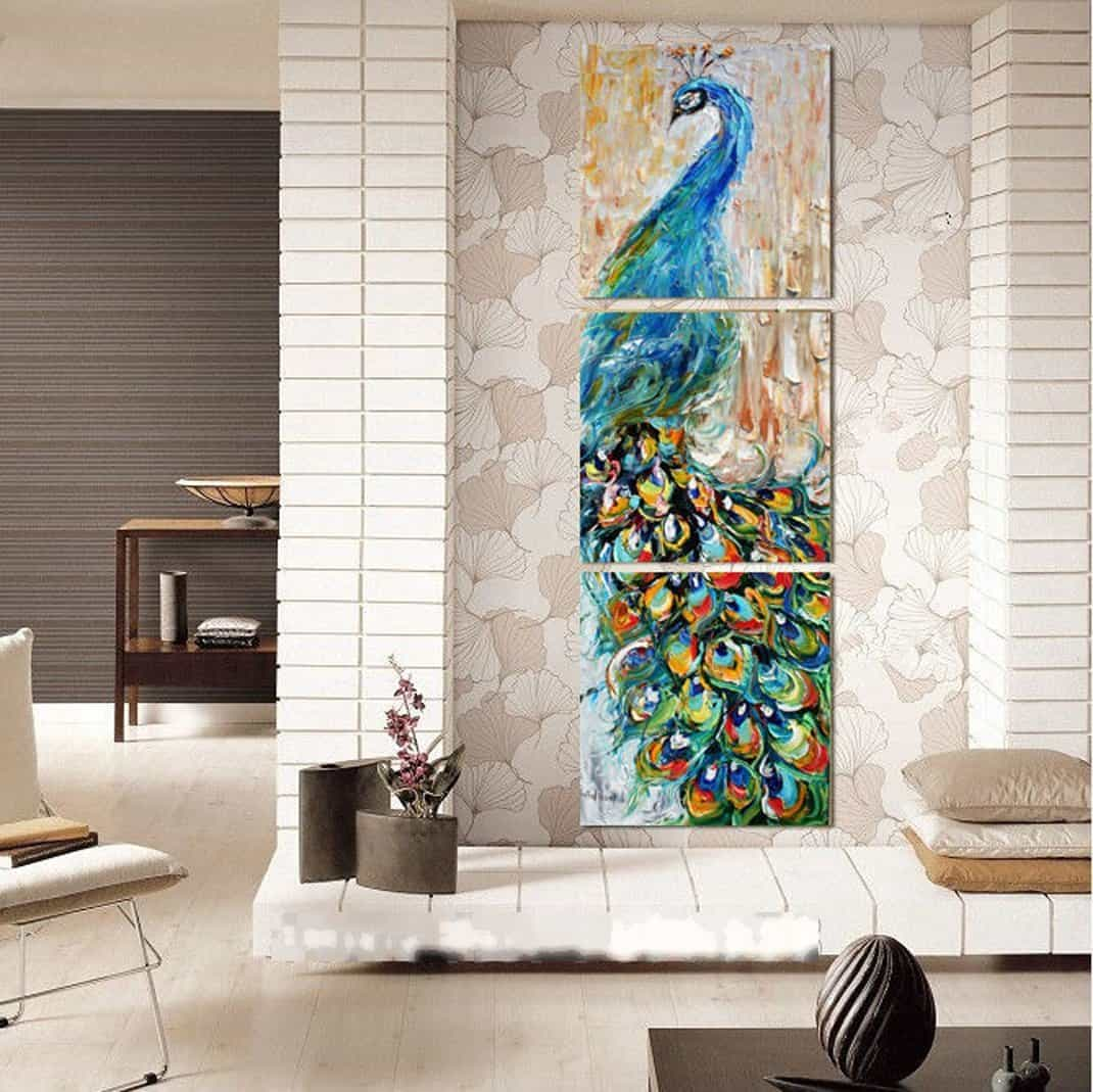 Modern Home and Office Wall Decor Canvas Print Peacock Paintings on Canvas 3 Panels (16x16inchx3)