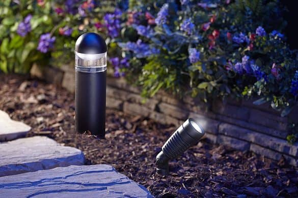Moonrays 95549 LED Low Voltage Kit with 2 Metal Spotlights & 4 Bollard Path Lights