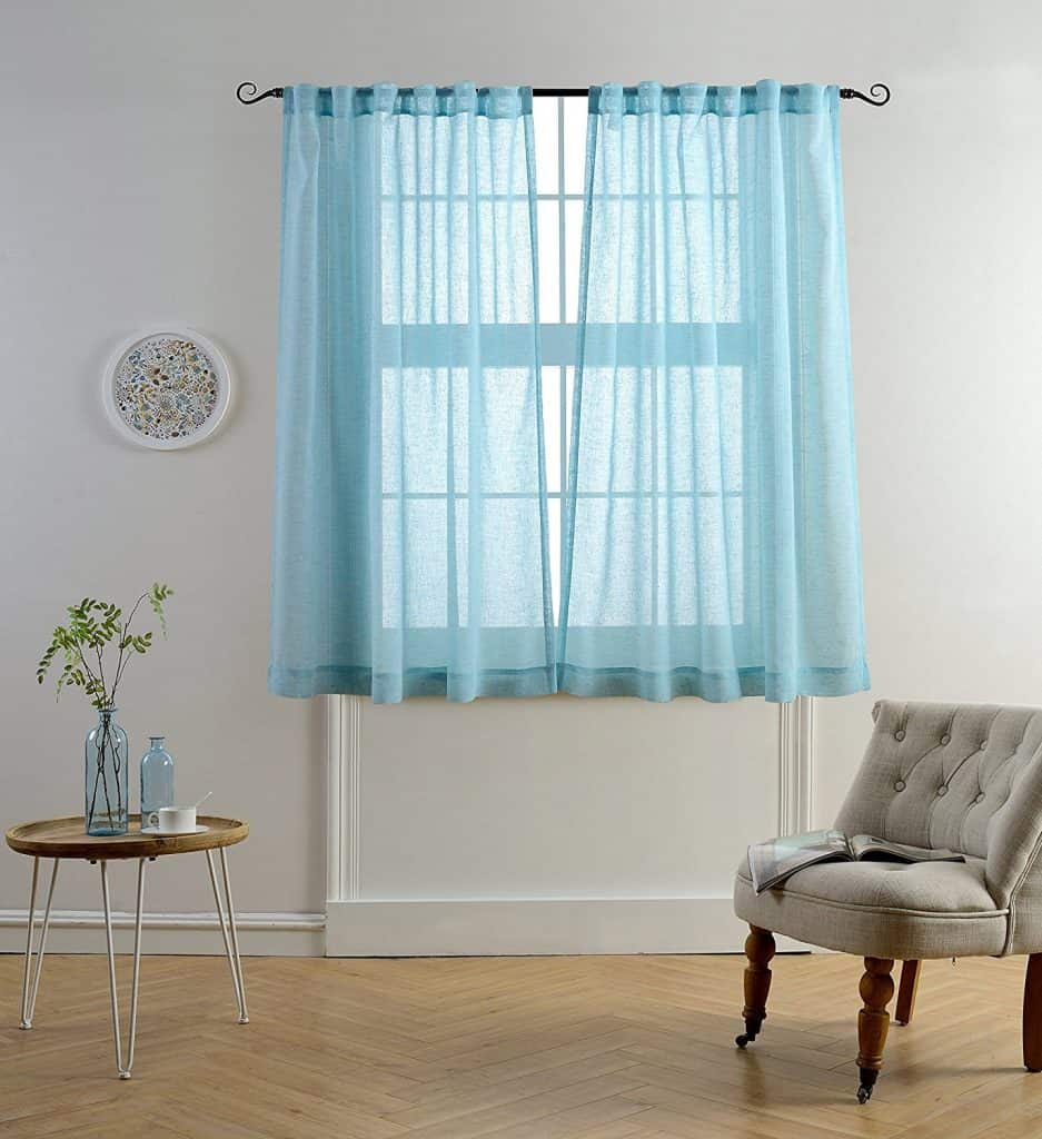 Blue bathroom window curtains - Mysky Home Faux Linen Back Tab And Rod Pocket White Melange Window And Door Sheer Curtains