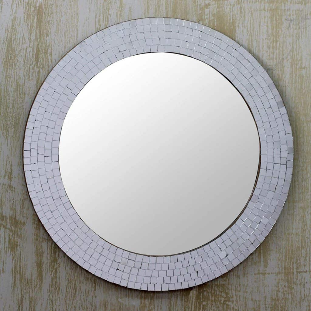 NOVICA Mosaic Glass Circle Wall Mounted Mirror Idea