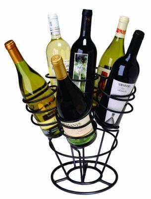 Oenophilia Bottle Bouquet Wine Rack, Black - 6 Bottle