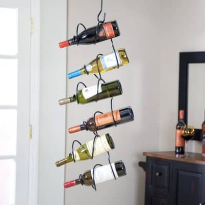 Oenophilia Climbing Tendril Hanging Wine Rack, Black - 6 Bottle