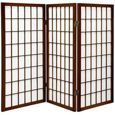 Oriental Furniture 3 ft. Tall Window Pane Shoji Screen - Walnut - 3 Panels