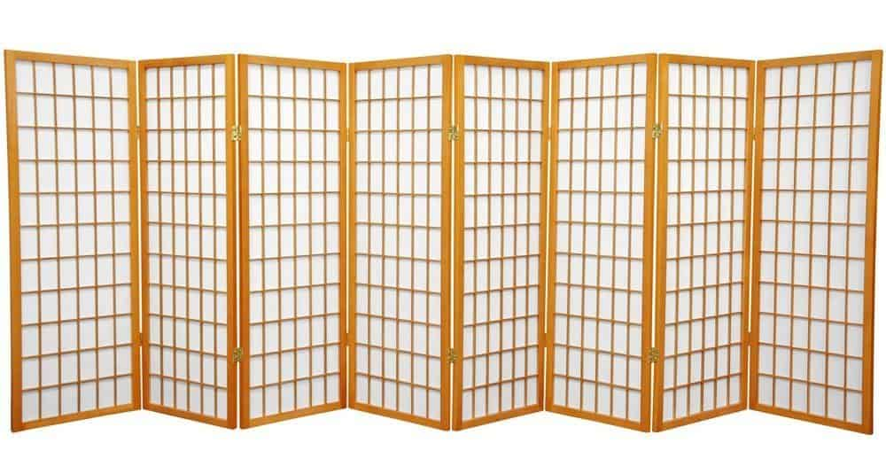 Oriental Furniture 4 ft. Tall Window Pane Shoji Screen - Honey - 8 Panels