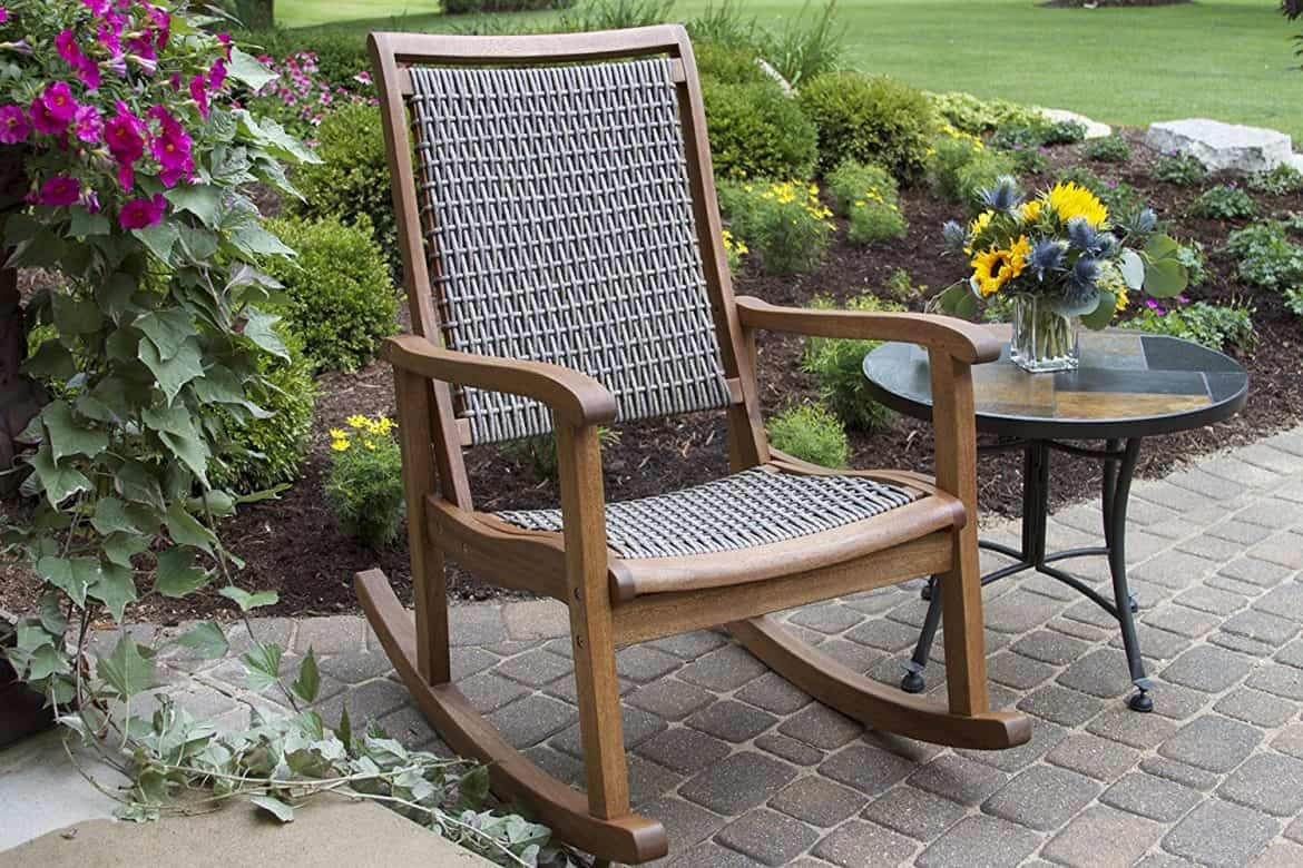 Outdoor Interiors Resin Wicker And Eucalyptus Rocking Chair, Brown And Grey