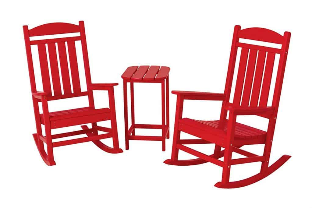 Great POLYWOOD PWS139 1 SR Presidential 3 Piece Rocker Chair Set, Sunset Red