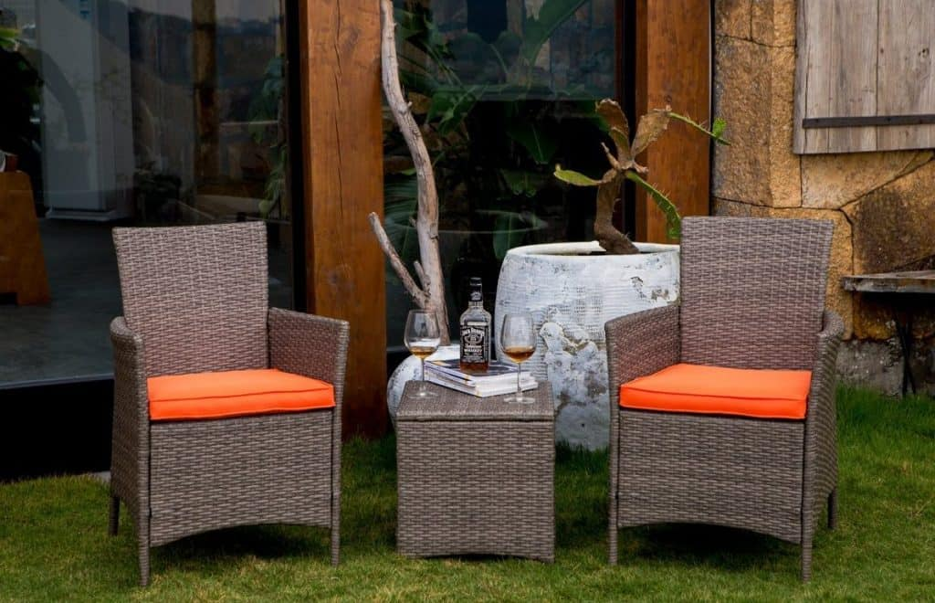 Patio Festival 3 Piece WickerRattan Chair and Side Table Set