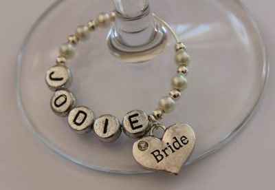 Personalised named wedding wine glass charms