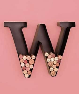 Personalized Letter W Metal Wall Wine Cork Holder