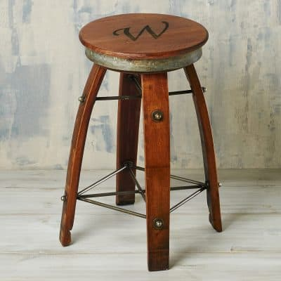 Personalized Reclaimed Swivel Wine Barrel Stave Stool (Single Initial)