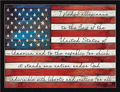 Pledge of Allegiance Liberty and Justice for All American Flag Framed Art Print